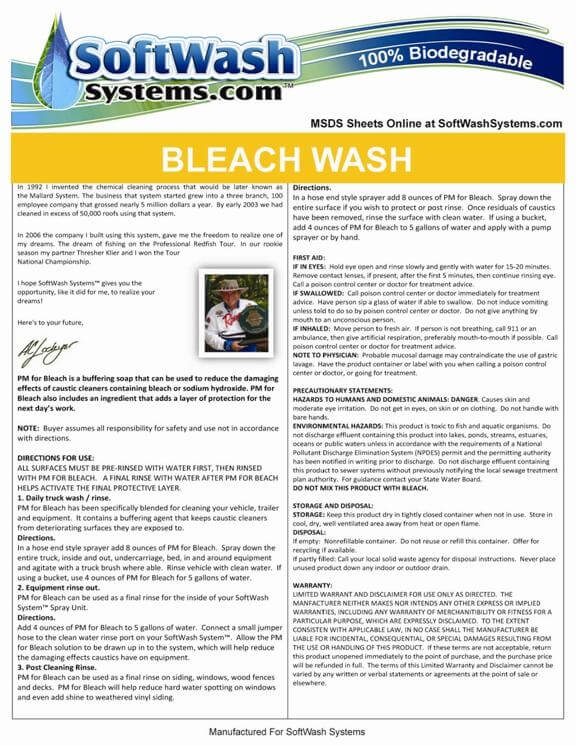 Bleach Wash Finishing Soap 30 Gallon | SoftWash | Chemical Cleaner