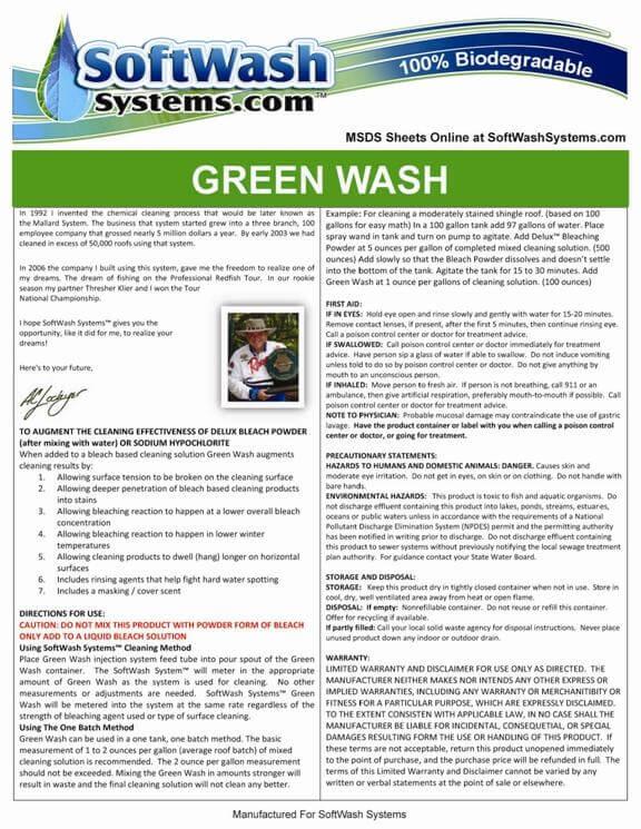 Green Wash 5 Gallon Gw 5 Bleach Cleaning Solution