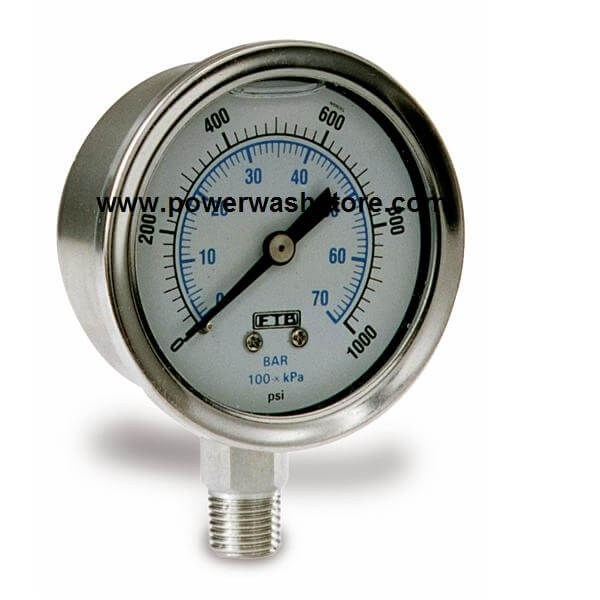 Stainless Case Pressure Gauge- 10000 PSI #3134